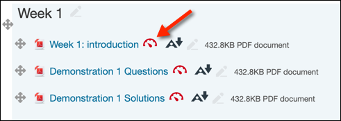 "Red arrow pointing to red Ally gauge beside PDF resource titled ""Week 1: Introduction"""