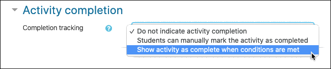 Activity completion options