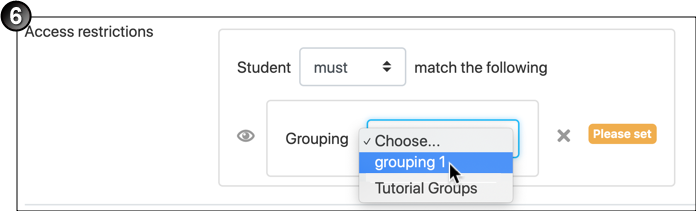 Mouse selecting a grouping
