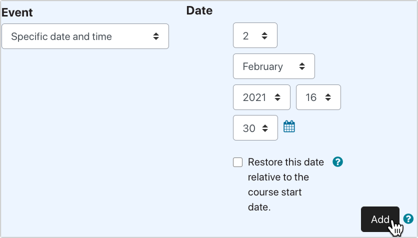 "Screenshot of Event ""Specific date and time"" in PLD"