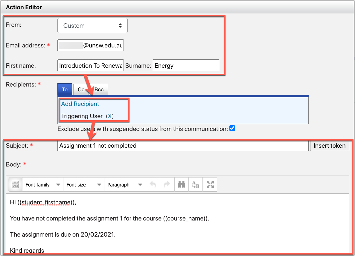 Screenshot of Send email action setup in PLD