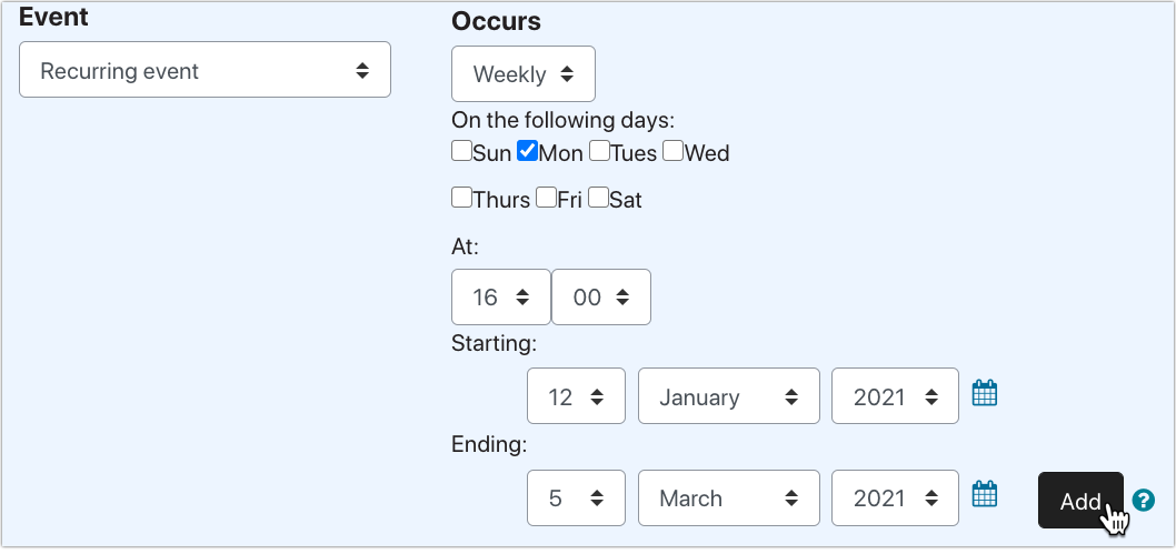 PLD screenshot of setting up recurring event