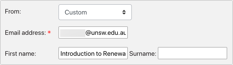 Send email action with 'From' field set to custom and 'Introduction to renewable energy' as the first name