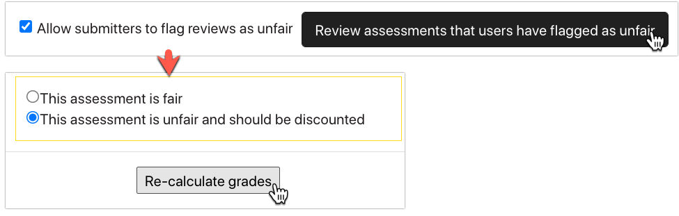 Allow submitters to flag assessments as unfair checkbox
