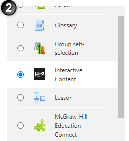 selected H5P activity using activity chooser
