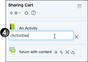 Typing the name 'activities' into a text box inside the Sharing Cart