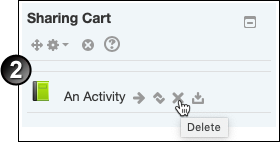 Clicking on Delete icon in Sharing Cart block