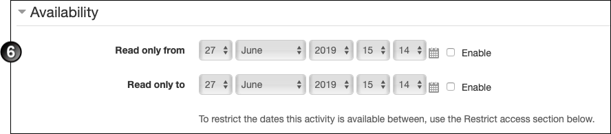 "Availability section with ""Read only from"" and ""Read only to"" dates"
