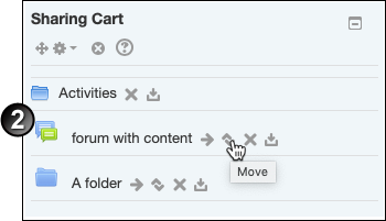 Clicking on the 'Move' icon beside an acticity inside Sharing Cart