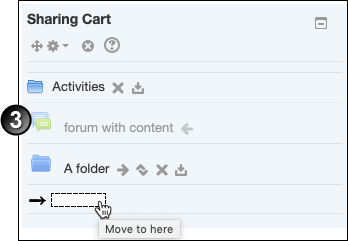 Clicking on a dotted rectangle inside Sharing Cart. The rectangle has the on-hover tooltip 'Move to here'