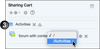 Selecting a folder named 'Activities' inside the selection box