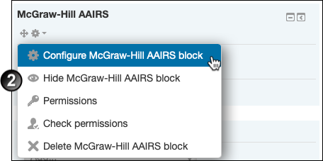 Clicking on the 'Configure McGraw-Hill AAIRS block' link