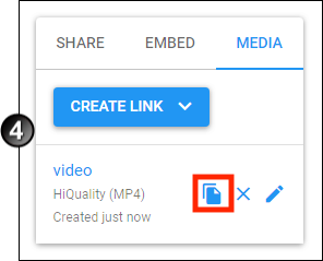 The location of the Copy Link button