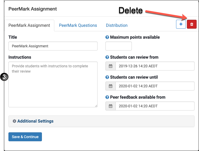 Where to delete a PeerMark assignment