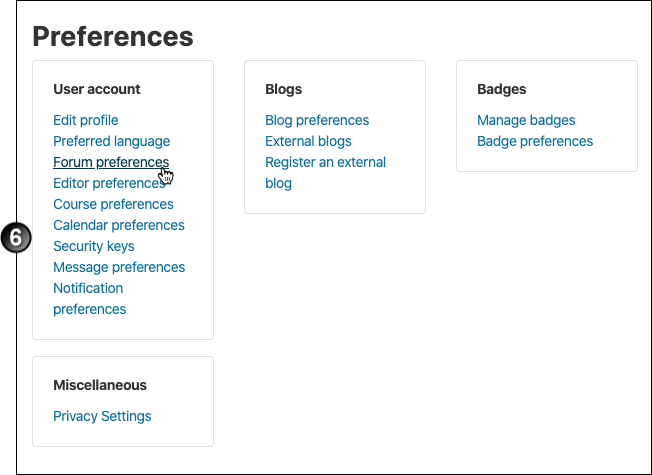 Link to forum preferences