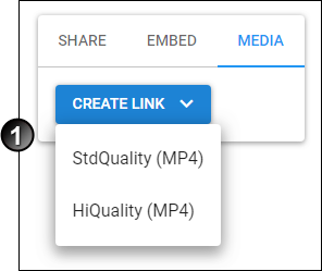 The Create Link button for videos