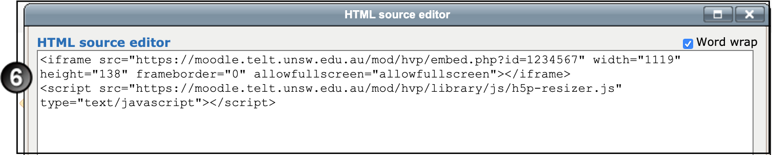 HTML Editor window with text pasted in