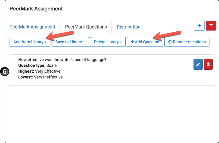 Adding questions to a PeerMark assignment