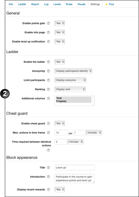 Level up block settings page