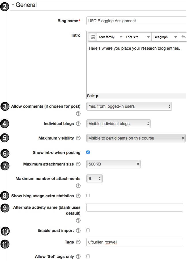 Add blog settings