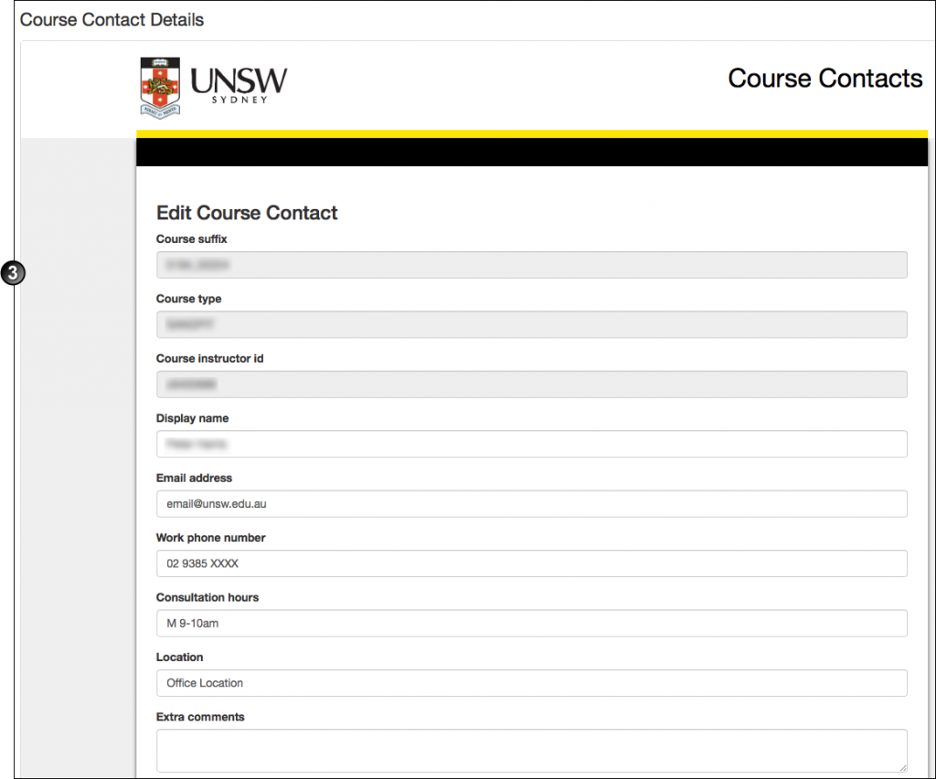 Course contact details screenshot