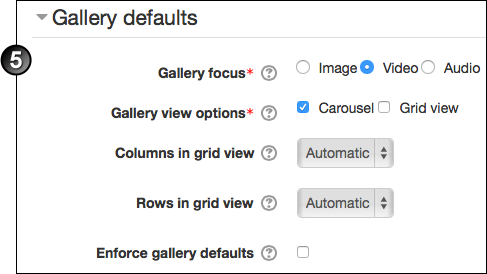 Gallery defaults