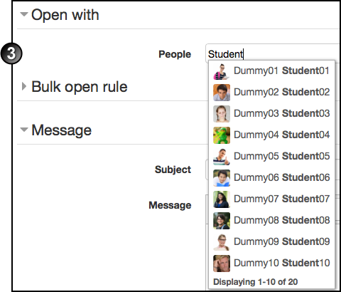 Open dialogue - select student