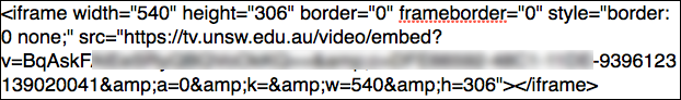 Example of UNSWTV Embed Code