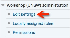 UNSW Workshop Edit Settings