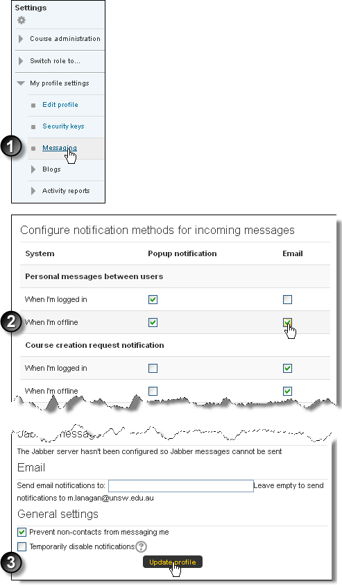 Configure message notifications, steps 1 to 4