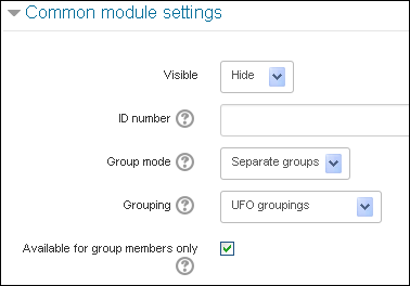 Assign an activity to a grouping, step 1