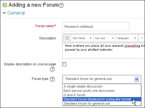 Create forum in a blog-like format.