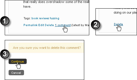 Delete a comment from an OU blog entry, steps 1 to 3