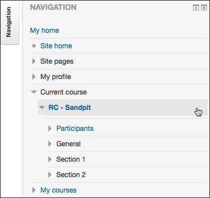 Navigation block on the course home page