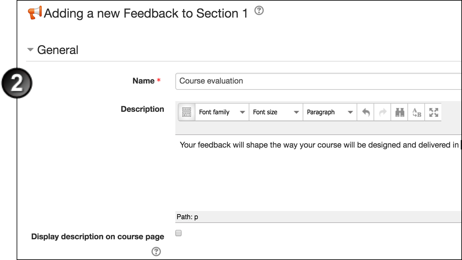Create a Feedback Activity in Moodle | UNSW Teaching Staff