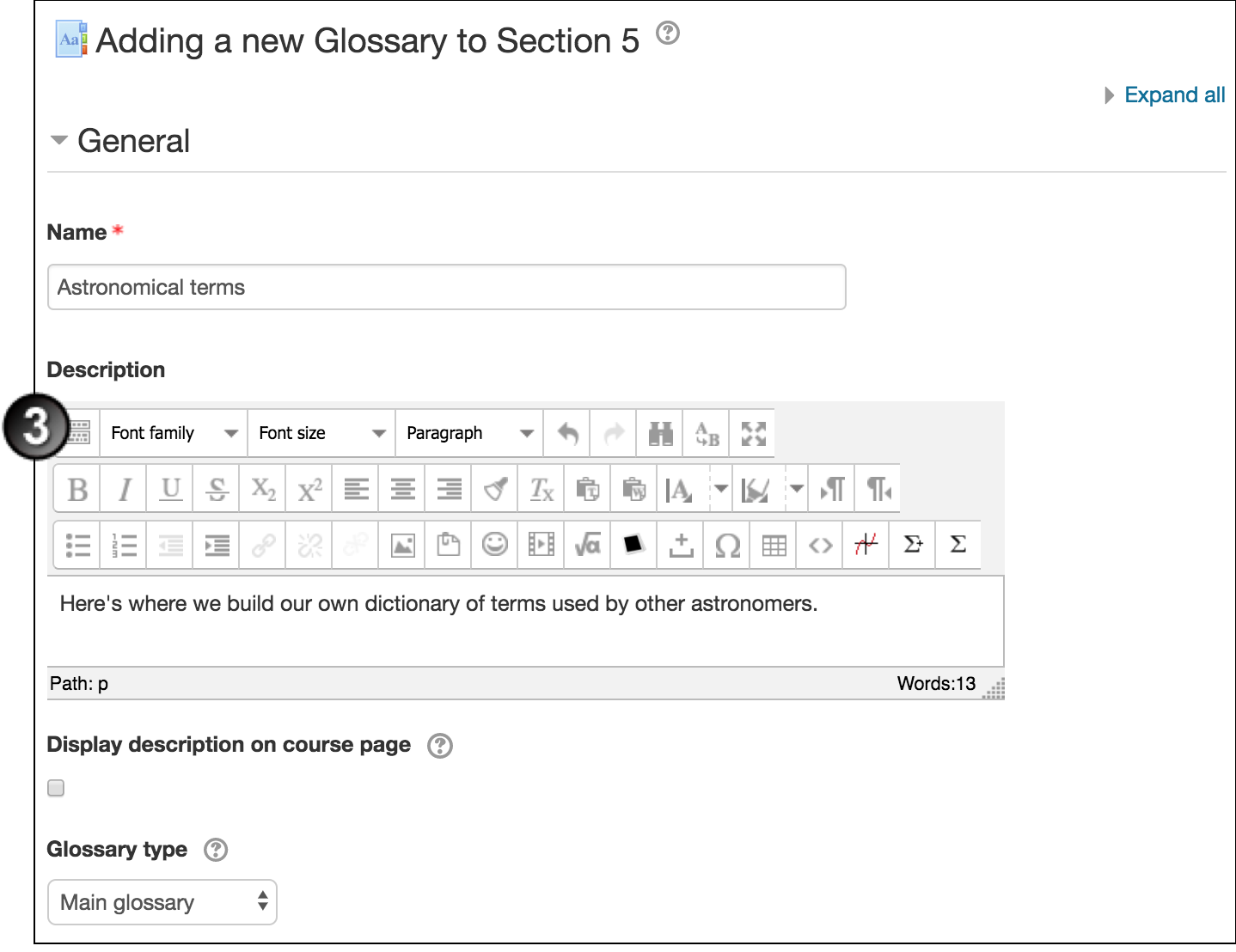create a glossary in moodle unsw teaching staff gateway
