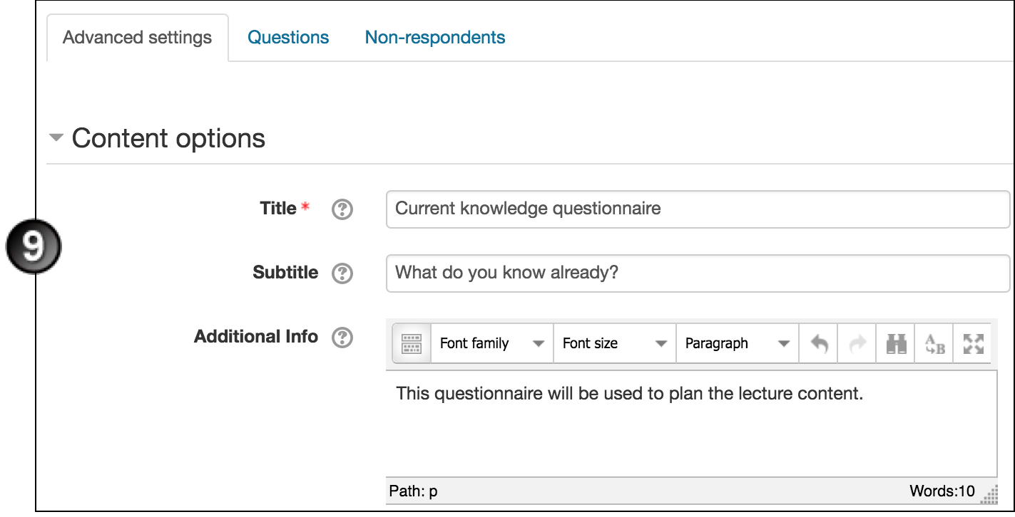 Create a Questionnaire in Moodle | UNSW Teaching Staff Gateway