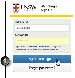 Example Moodle Web Single Sign On Form - User Id, Password entry, click Agree and Sign on.